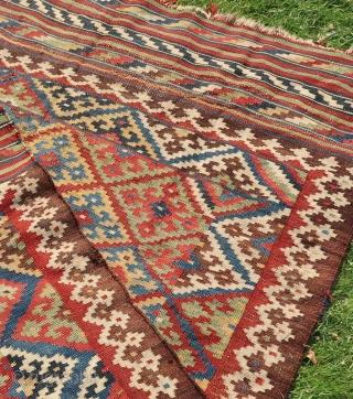 Persian Tribal, Kelim, Bakhtiari. Wool on wool cleaned, washed, ca; 140 cm x220 cm. Ca. 1900 .Good colors. Listening ; Nancy Sinatra Bang Bang (My Baby Shot Me Down)
