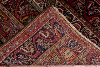 Bidjar Runner  3.4 x 12.1 1.03 x 3.68  In the Caucasian style, this Kurdish Persian runner displays five columns strips in navy, red and ivory featuring botehs and palmettes within undulating vines. The colours are  ...