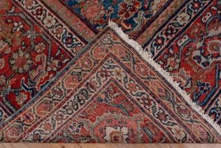 Mahal Carpet  10.8 x 12.9 3.29 x 3.93   The attractive abrashed cerulean blue field is neatly covered by a medium scale allover classic Herati pattern detailed in rust, ivory and green. The rust border  ...