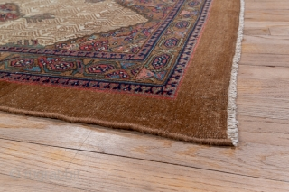Hamadan Runner  3.3 x 14.5 1.0 x 4.41  A nut brown camel tone plain border and a vine and hexagon inner stripe frame the ivory field with a background  honeycomb lattice and flower pattern,  ...