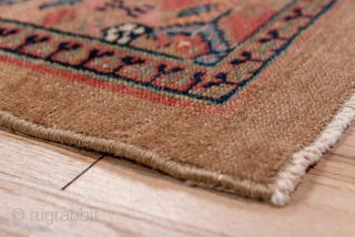 Hamadan Runner  2.9 x 17.6 0.88 x 5.36   This west Persian rustic runner shows several shades of camel toned  pile wool in the lattice and small repeating medallion field and in the plain  ...