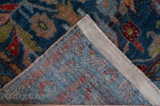 Hamadan Runner  2.7 x 17.2 0.82 x 5.24   This rather flat west Persian runner displays an abrashed   green  to deep blue-green field with a giant flower and leaf pattern in dark  ...