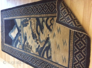 Measures: 185 x 95 cm Antique Chinese carpet about 100 years old for this one. In very-very good condition,