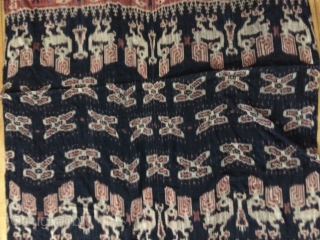 Sumba Ikat Woven fabric with red, black and tan natural dyes. Large