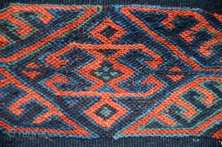 "Rare antique Yüncü flat woven çuval. 45"" X 24"". Late 19th C. Wool. Brocaded face, with Elibelinde motifs; striped back with brocaded embellishments. All natural dyes. For details and comparisons see Pinkwart  ..."