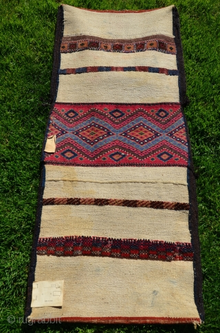 "Kordi/Turkman khorjin, early 20th C. NE Iran. 50""X21"". All natural dyes and soft Kurk wool. Finest weaving skill. Colorful pile strips on back. Exceptional visual and technical quality. Perfect condition."