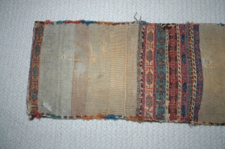 "Shahsavan chanteh khorjin third quarter of 19th C 35""X 13"" bud and flower design, soumac and brocade face and partition, plainweave back, good condition,  This is an unusually early example of  ..."