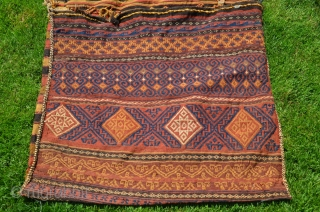 """Baluch kilim flatwoven khorjin. 5'5""""X2'7"""". First part 20th C or earlier. Wool. Natural dyes. Few signs of use/small patches on striped back. Light cheery palette is unusual. Washed by me."""