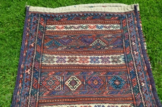 "Kordi çuval, 48"" X 32"", 1st 1/2 20thC. Wool. Beautiful colors. Shiny wool. Excellent condition. Bargain price."