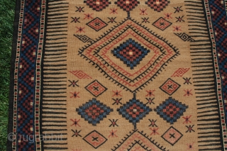 "Kordi sofreh. 5'9-1/4"" X 2'7"". Circa 1900. Wool and camel hair. All natural dyes. Brocaded designs with areas of weft substitution. Mint condition. Ex Adil Besim."
