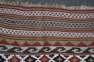 "Fine antique Qashqai kilim. 9'5"" X 4'6"". Late 19th C. Wool and cotton (white). Ivory wool warps. Saturated bright natural dyes. Ends and edges original and intact. Fine condition."