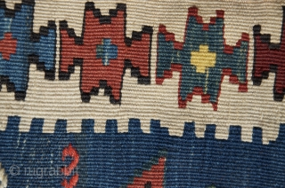 """Shahsavan kilim khorjin. 3'9"""" X 1'10"""". 19thC. Wool. Beautiful and unusual natural color palette. Excellent condition."""