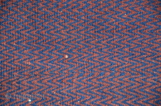 """Rare antique Baluch salt bag.1 ft. x 1 ft. 9 in. All wool. Natural colors. Face with allover weft-faced zigzag design. Plainwoven striped back. Excellent condition. For comparison see Tanavoli """"Bread and  ..."""