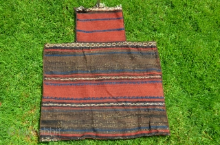 "Rare antique Baluch salt bag.1 ft. x 1 ft. 9 in. All wool. Natural colors. Face with allover weft-faced zigzag design. Plainwoven striped back. Excellent condition. For comparison see Tanavoli ""Bread and  ..."