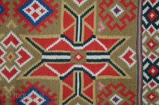 So. Swedish rålakan ægtedyne (cushion cover). 3 ft. 4 in. X 1 ft. 10 in. Wool. Double interlocked tapestry. First half 19th C. Brilliant natural colors. Near perfect condition. Good price.