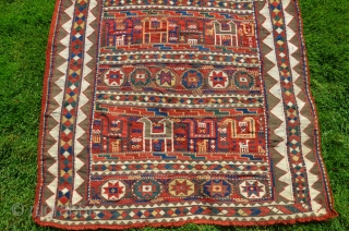 "Karabagh verneh horsecover. 72""X41"". 19th C. Fine soumac and brocading. Beautiful natural dyes. Complete-arms reattached. Very favorable price."