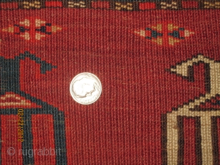 """Unusual Kizil Ayak measuring 4'-8"""" x 2'-4"""" (144 cm x 71 cm), with a fantastic skirt, great colors including yellow, green, white, navy, 2 shades of brown, and two shades of red,  ..."""
