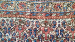 Antique squarish Neiriz rug, circa 1880,wool foundation, with great color, nice proportions, and fantastic border