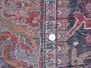 "Antique Garrus Bidjar carpet with arabesque design, circa 1870, wool foundation, measuring 7'-5"" x 13'-6"",a symphony of color and design, truly a Kurdish masterpiece."