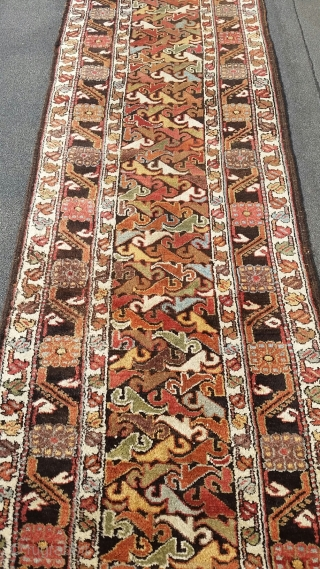 Kurdish runner, circa 1900, rare design, fabulous range of colors, lustrous wool, measuring approximately 3 feet by 14 feet.