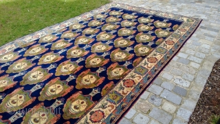 Extremely seldom and huge Sarouk Palace - Carpet, ca.706 x 337 cm (!), approx. 278 x 133 inches. Saruk carpet all over with Schah - Crowns and coats of arms (Inscribed date: 1899, could  ...