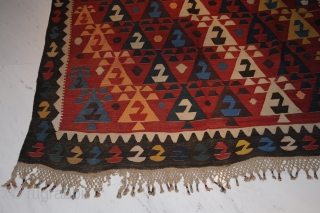 Wonderful antique Caucasian Kelim with gorgeous colours (aubergine!) and extremely nice and seldom iconography! Very good condition! ca. 342 x 166 cm.  Collector's item! Certificate!