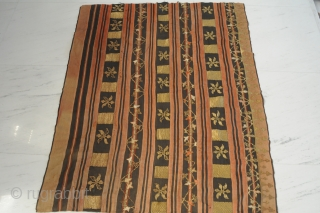 Rare Textile, Southeast Asia (Laos?), silver stitched, extremely fine flatweave, good condition, ca. 121 x 104 cm