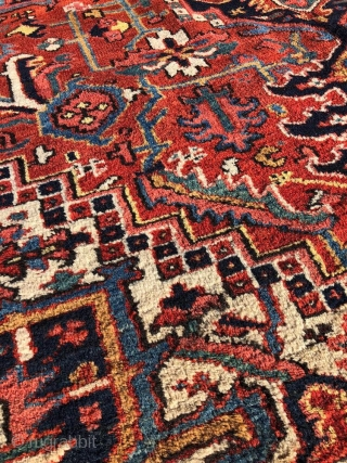 """Serapi mint , karaja weave, late 18 century, 8'7"""" x12.  very good condition. a great find. pictures takes in outside natural light. free continental fedex ground ship. 30 days full refund less  ..."""