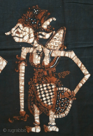 Javanese Batik Wall Hanging with Wayang Figures