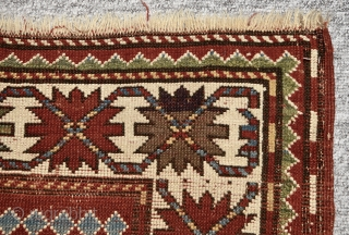 Late 19th century Kazak. As found. All natural colors. Some wear as shown. Size: 202cm x 118cm