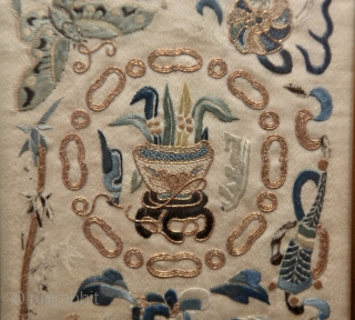 Beautiful antique 19th Century Chinese hand embroidery in perfect condition with great  natural colors. It is entirely handmade with a stunning design of dragon, birds, fox, flowers and very fine stitching.  ...