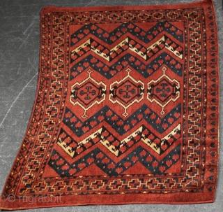 Late 19th century Turkmen Ersari chuval. 147cm x 83cm