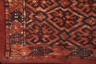 Late 19th century Turkmen torba with silk highlights. 107cm x 43cm/ 42x17 inches.