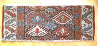 Full pile moghan fragment, 19th century. Great colours  39 x 98 cm