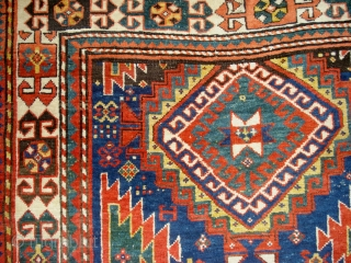Antique rug of the Kazak - Gendje group. Good pile, excellent colours and an interesting border not found often in this size. Endkelims still intact, sides a bit nibbled. 243 x 135  ...