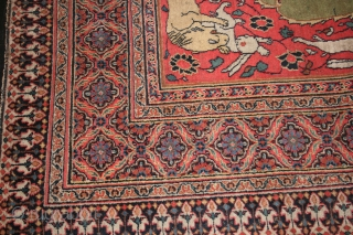 Khorasan Carpet, Size: 7.7 x 17.0 , Circa 1850's , an attractive early piece purchased in London about 10 years ago. I have not had it restored.  Good condition for age.  ...