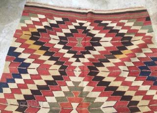 Central Anatolian Konya Kilim Size 387x135 cm