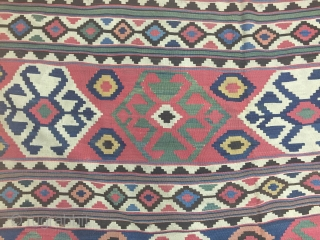 Caucasian ( Koc Boynuz ) Kilim Wonderful Colors Size 200x240 cm / 6'6''x7'9''
