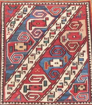 Caucasian Bag Faces 19th Century Size 49x54cm-49x56cm