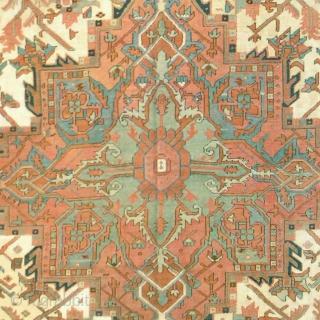 "Antique Persian Serapi Rug Persia ca.1880 12'8"" x 8'4"" (387 x 254 cm) FJ Hakimian Reference #05031"