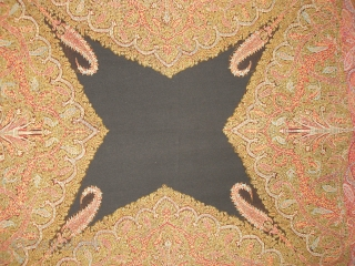 Kashmir Shawl . Very intrically drawn pattern with dragon vines and branches as seen under the three mihrab arches The central field is also complex in nature with again dragon vines and braches  ...