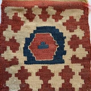 Diminutive antique Kurdish bag 19 cm x 37 cm lovely soft palette and patina