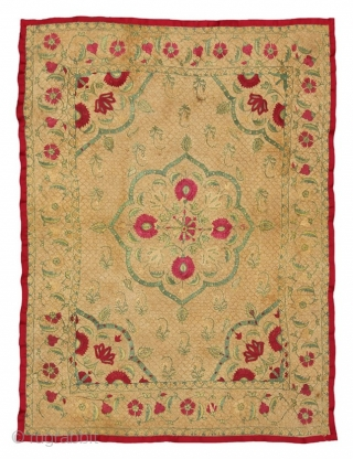 Indian Quilted Embroidery Age: ca. 1800 Origin: India Size: 86 cm x 107 cm Info: Classical Mughal design in good condition, professionally cleaned