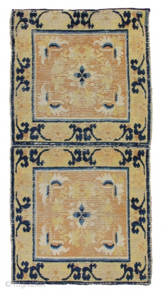 Chinese Ninghsia Age: late 18th century Origin: China Size: 60 cm x 110 cm Info: An elegant rug with classical design, sadly some wear.