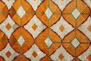 Phulkari From West(Pakistan)Punjab India.Very Rare Design Of Bagh. Floss Silk on Hand Spun Cotton khaddar Cloth.Its Size is W-128cm X L-250cm.Extremely Fine Bagh.(DSL02750).