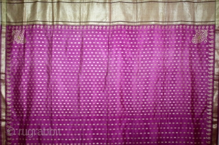 Odhni Zari Brocade(Real Silver and Gold) from Jamnagar Gujarat India..The pattern is made up of kairi,paisley, placed as a konia at the corners of the pallu.The broad plain chaudani pallu is outlined  ...