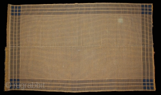 Woven Cotton Coverlet (Khes) with Geometrical Pattern Woven on a pit-loom using a Double-Weave Technique from Nasarpur or Thatta, Sind Pakistan India.Circa.1930.Its size is W-130cm x L-224cm.(DSL02790).