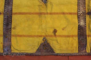 Horse Bag khadi cotton with leather work used by Rajput Marwari Family From Rajasthan India.Very rare bag.Its size is 60cmX110cm.(DSC001030).