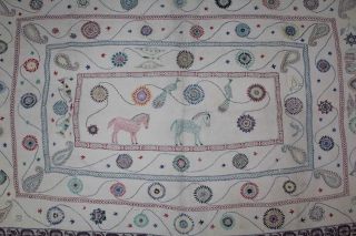 Vintage Kantha embroidery with cotton thread Kantha Probably From East Bengal(Bangladesh)Region India.Its size is 122cm X 178cm.(DSL01780).