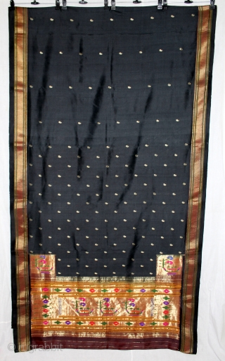 Rare Paithani sari, named after the Paithan region in Maharashtra India.It's an real silver treads zari weave .where they are woven by hand. Made from very fine silk, it is considered as  ...